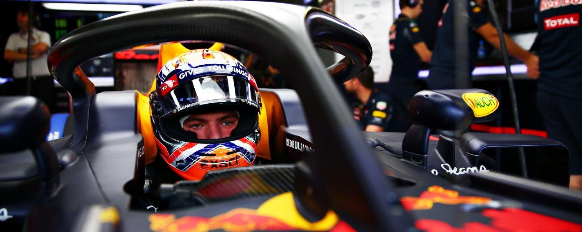 Halo F1 sulla Red Bull di Verstappen