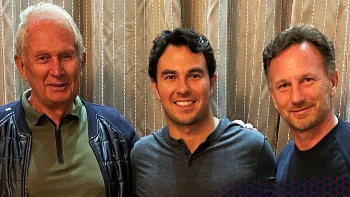 Helmut Marko, Sergio Perez e Christian Horner (Red Bull)