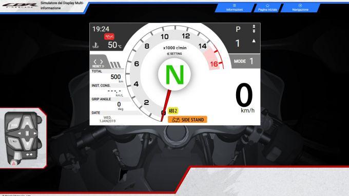 Honda CBR 1000 RR-R Fireblade 2020: il simulatore della strumentazione