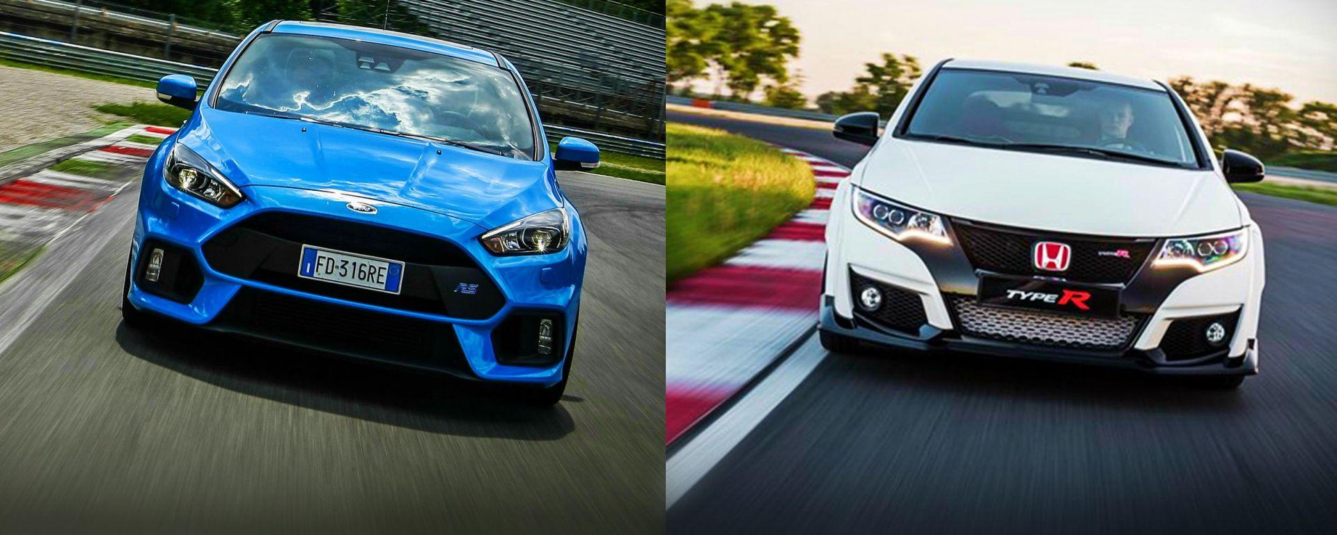 Honda Civic Type R vs Ford Focus RS in pista: guarda il video