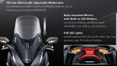 Honda Forza 350: il parabrezza è regolabile elettricamente per 150 mm