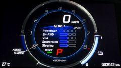Honda NSX: si può scegliere tra 4 modalità di guida. Quiet, Sport, Sport+ e Track
