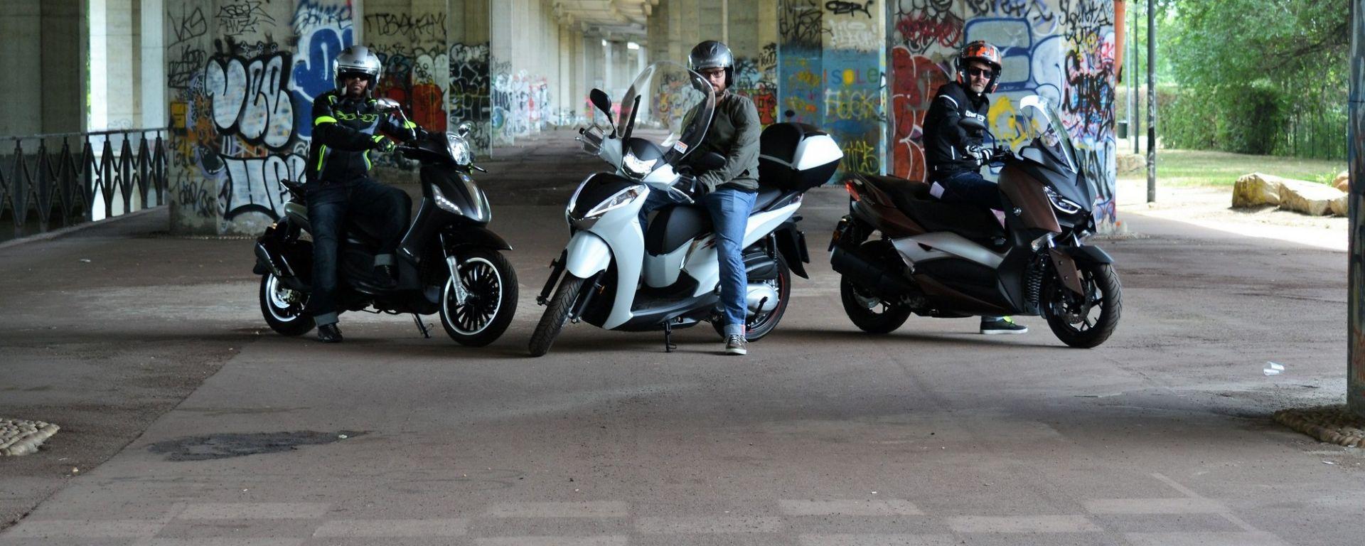 Honda SH300i, Piaggio Beverly 300, Yamaha Xmax 300: la prova confronto