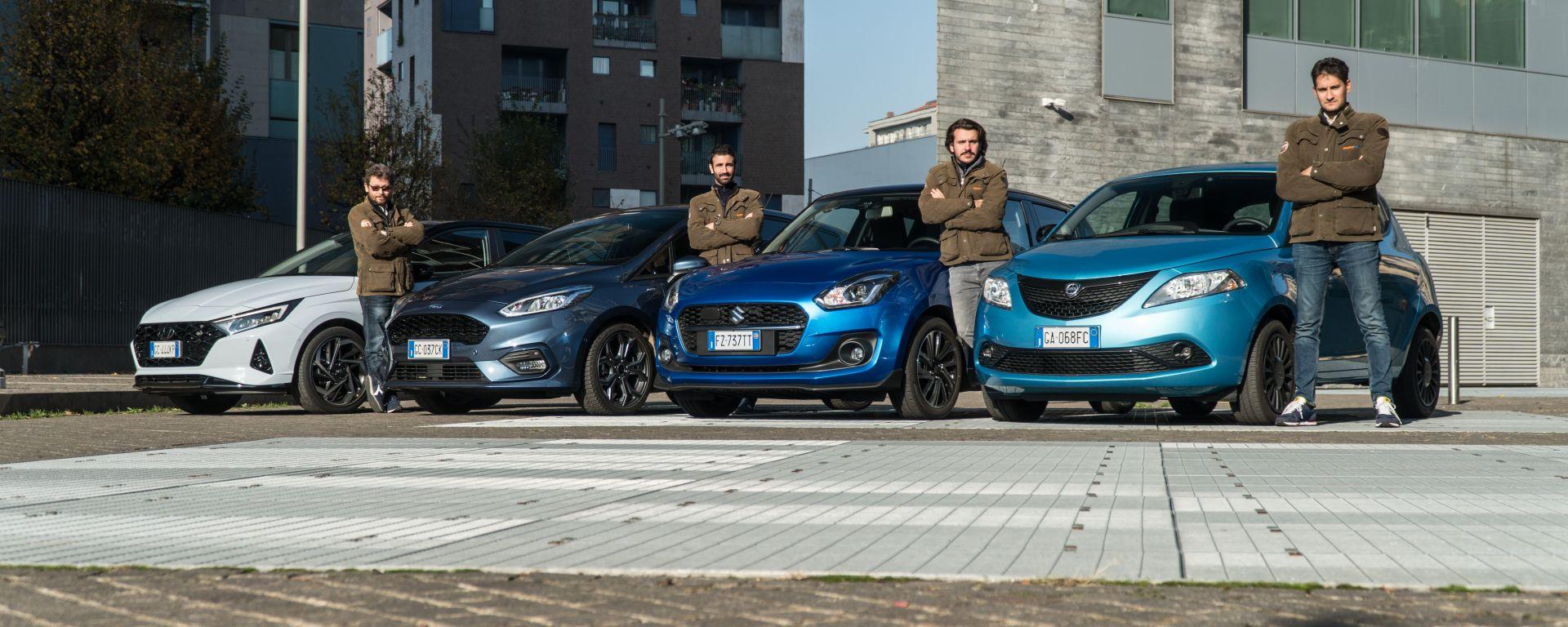 Hyundai i20 1.0 T-GDI 48V, Ford Fiesta 1.0 Ecoboost Hybrid, Suzuki Swift 1.2 Hybrid, Lancia Ypsilon 1.0 Hybrid