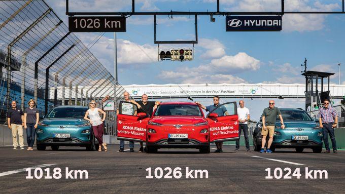 Hyundai Kona Electric è record di autonomia al Lausitzring