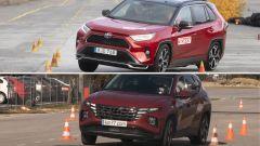 Hyundai Tucson vs Toyota RAV4: SUV ibridi nel test dell'alce