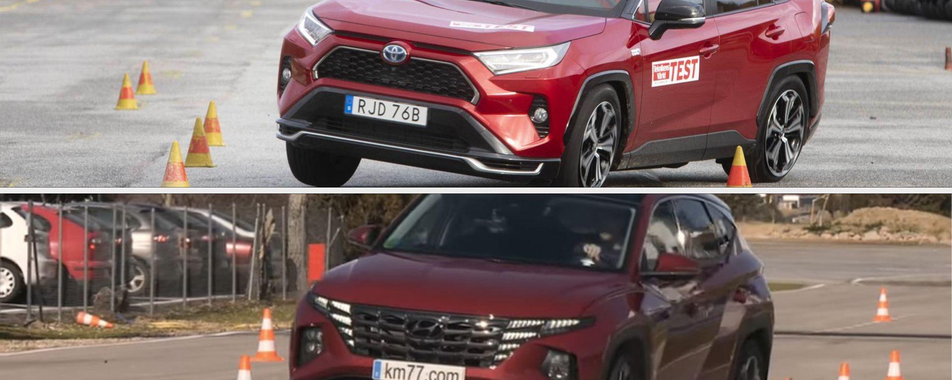 Hyundai Tucson Hybrid vs Toyota RAV4 Plug-in Hybrid: il test dell'alce