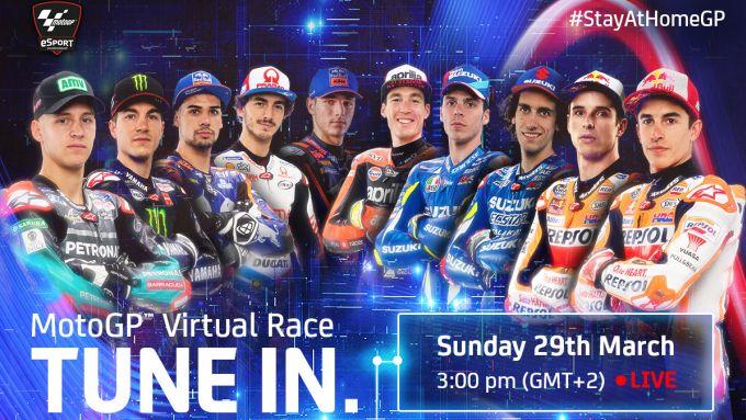 I dieci piloti della MotoGP impegnati nello #StayAtHomeGP al Mugello domenica 29 marzo 2020