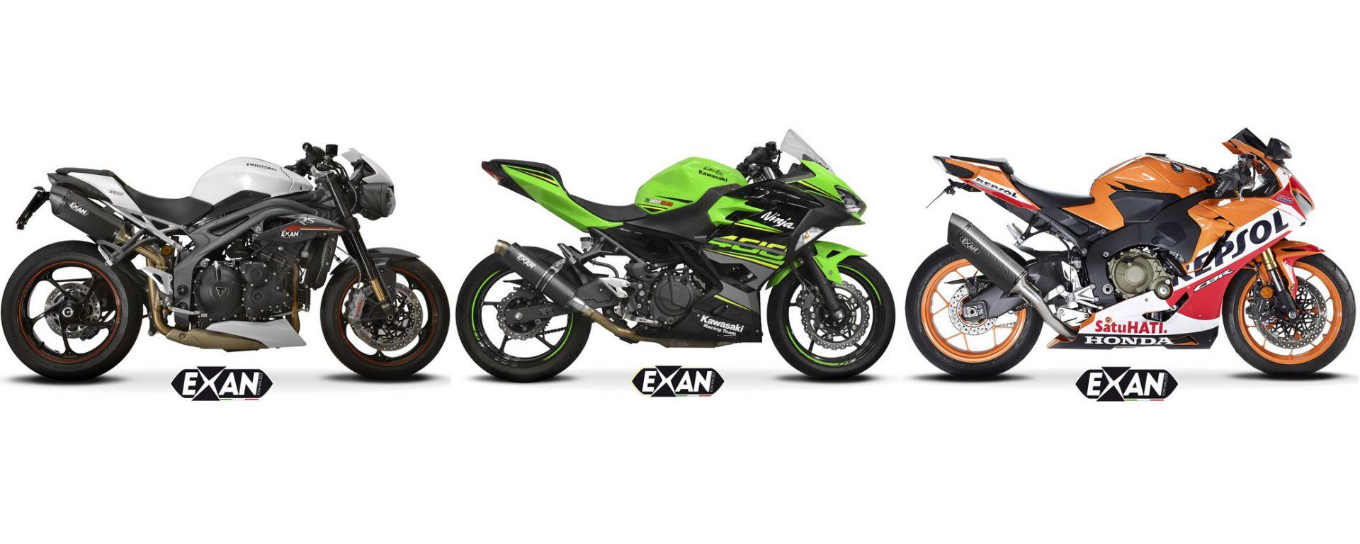 I nuovi scarichi Exan per Honda, Kawasaki e Triumph