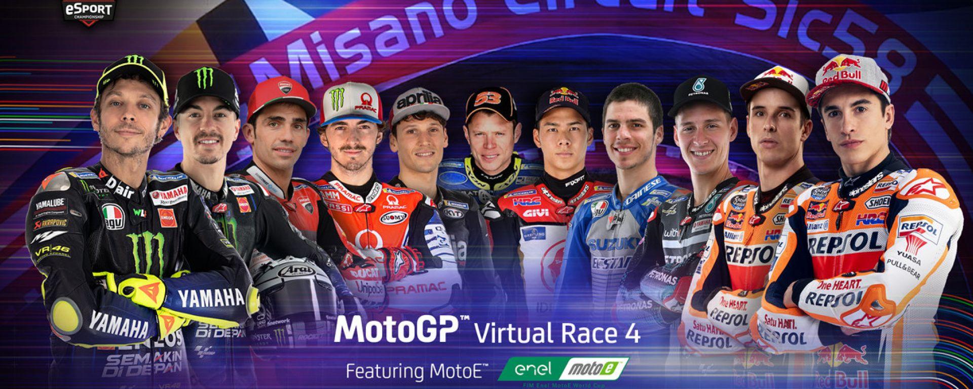 I partecipanti alla Virtual Race 4 di Misano Adriatico. Rossi e Marquez guidano la truppa