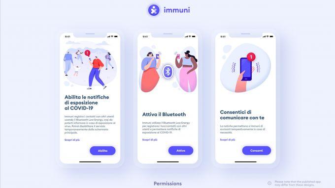 I permessi della app Immuni