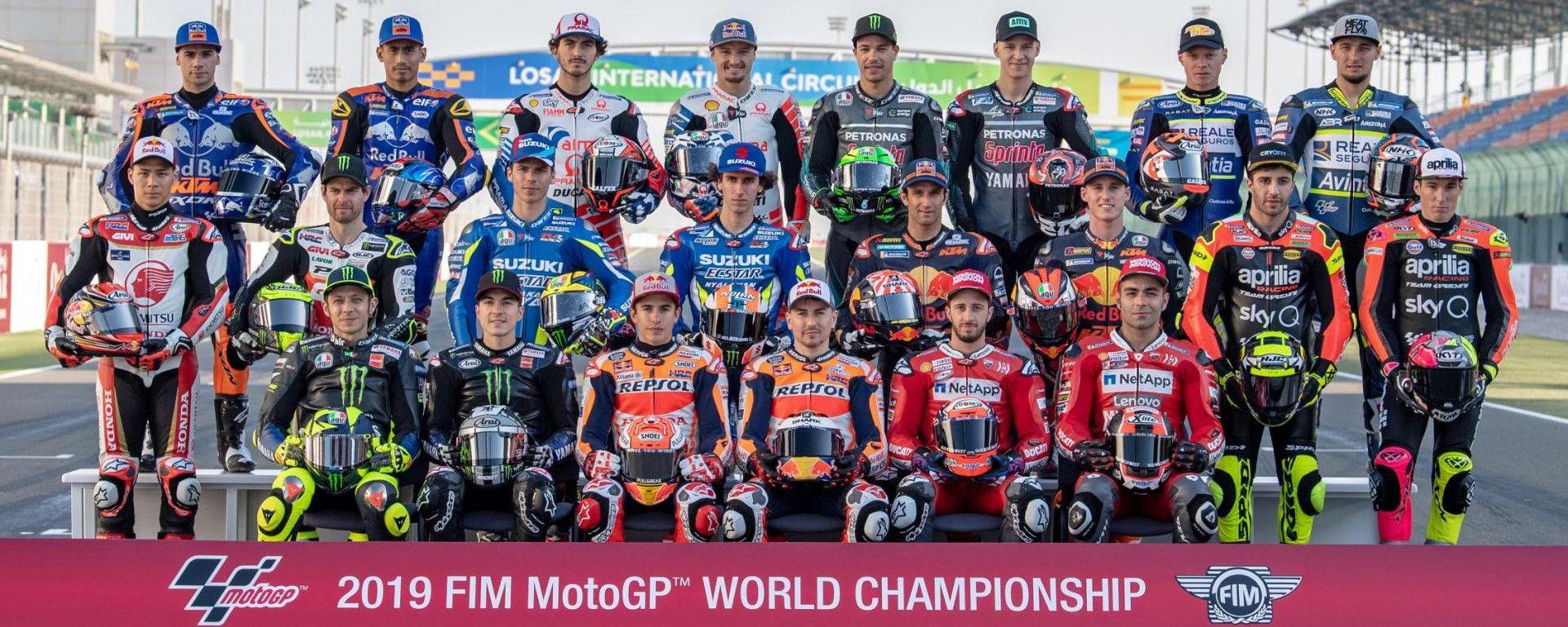 I piloti della classe MotoGP 2019 al gran completo