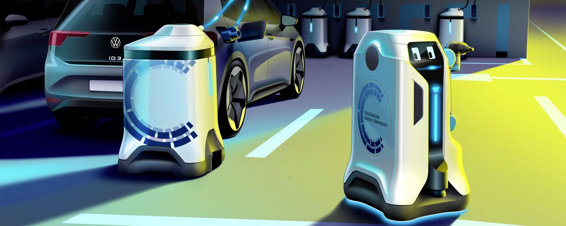 I robot di VW che si occupano delle ricariche autonome