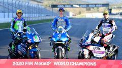 I tre 23enni campioni nel 2020: Enea Bastianini (Moto2), Joan Mir (MotoGP) e Albert Arenas (Moto3)
