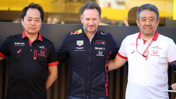 I vertici motorsport di Honda con il team principal Red Bull, Christian Horner