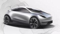 Il bozzetto della piccola Tesla presentata a Shangai