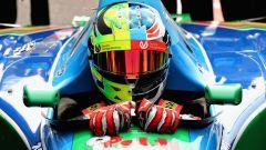Il casco di Mick Schumacher, vista frontale