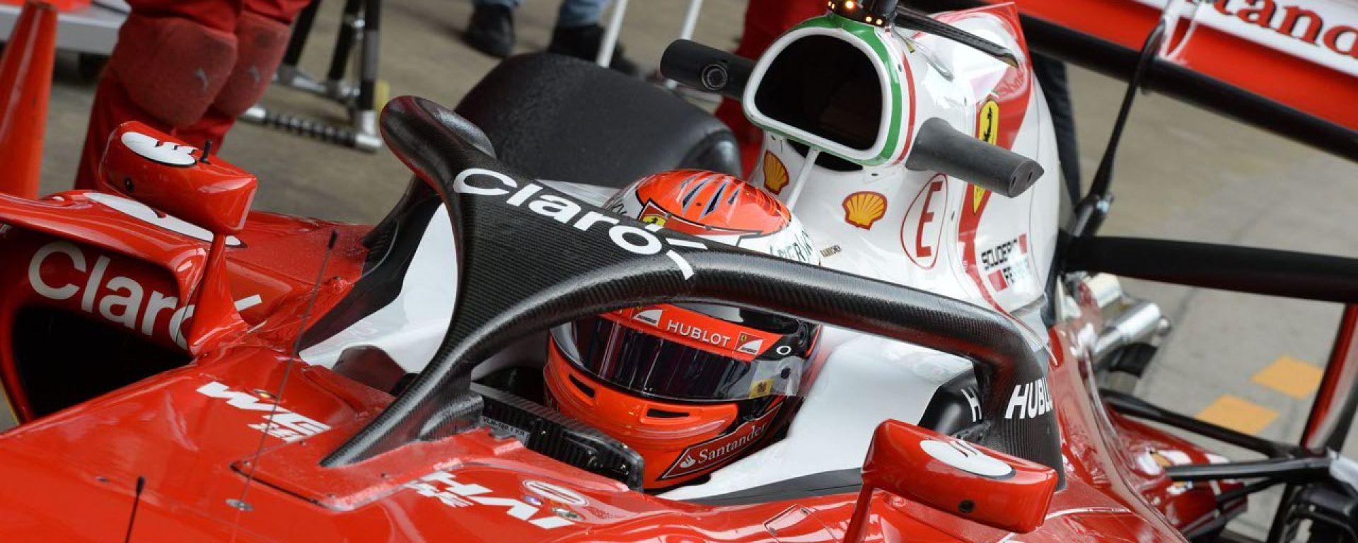 Il cupolino Halo testato in pista con Ferrari