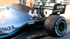 Il dettaglio sull'ala posteriore della Mercedes di Hamilton