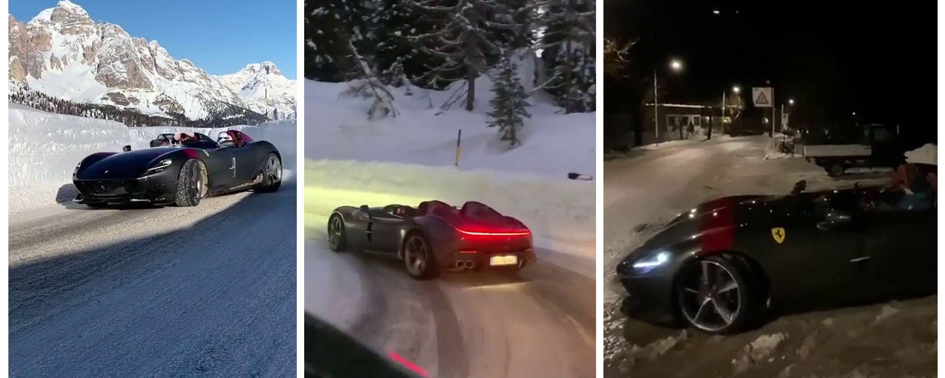 Il drift della Ferrari Monza SP2 sulla neve