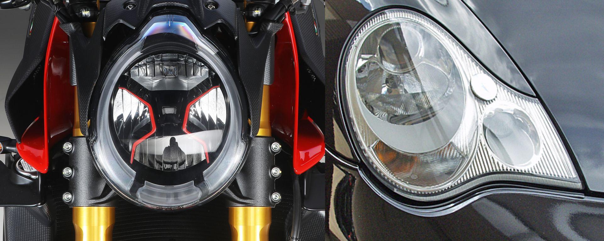 Il fanale anteriore della MV Agusta Brutale 1000 RR e della Porsche 911 Carrera (996) hanno qualcosa in comune...