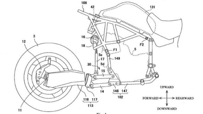 Il forcellone monobraccio anteriore del brevetto di Kawasaki