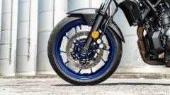 Il freno anteriore della Yamaha MT-07 2021