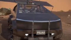 Il frontale del Tesla Cybertruck immaginato per Marte