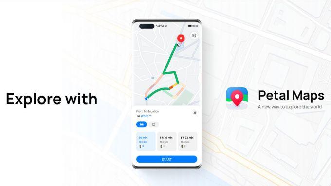 Il layout di Huawei Petal Maps