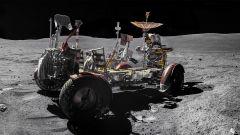 Il Lunar Roving Vehicle di Apollo 16 e il comandante della missione John Young