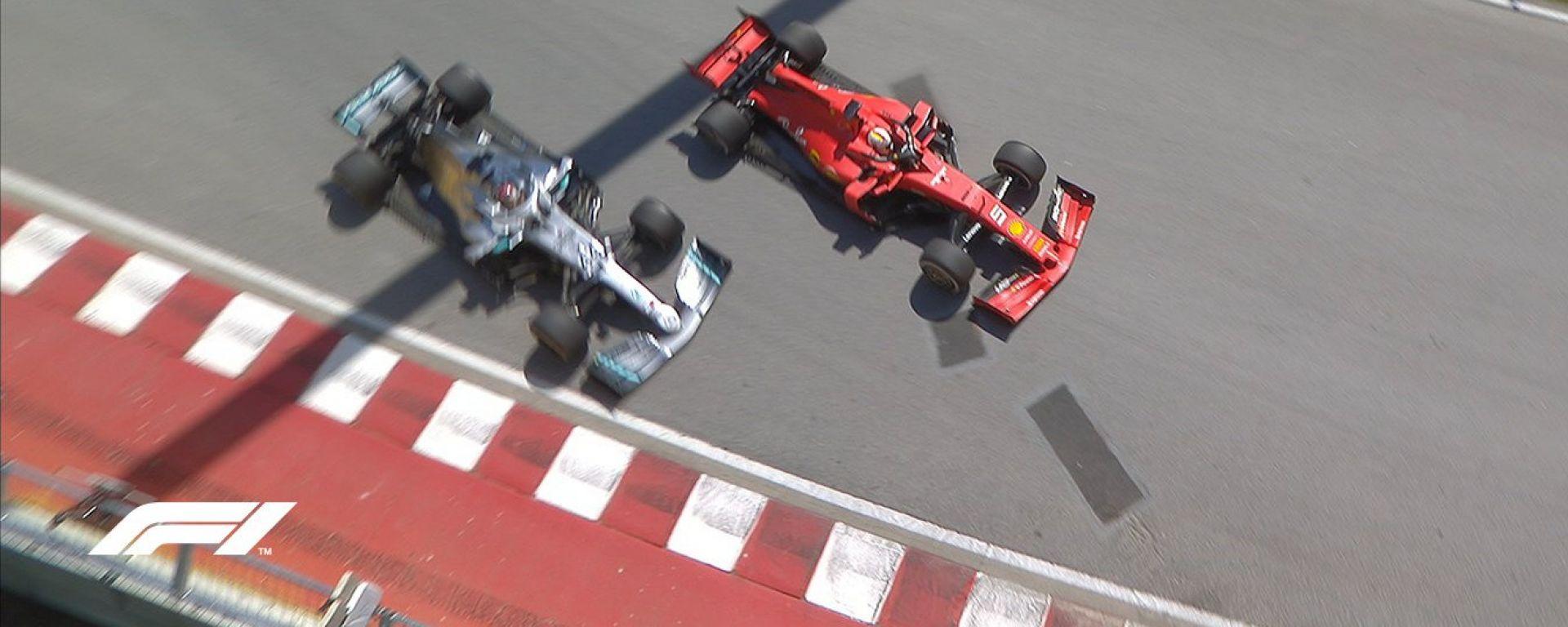 Il momento decisivo del Gp Canada: Vettel taglia la chicane e rientra in pista ostacolando Hamilton