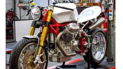 Il motore della Guzzi Le Mans 850, modificat, sulla GCorse Classic 992, opera dei fratelli Guareschi