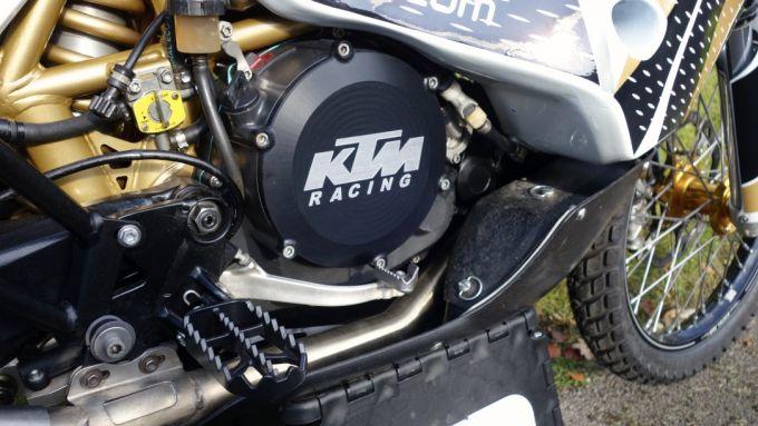 Il motore della LPR 732 cc Factory Rally Adventure, la KTM 690 preparata da Lyndon Poskitt