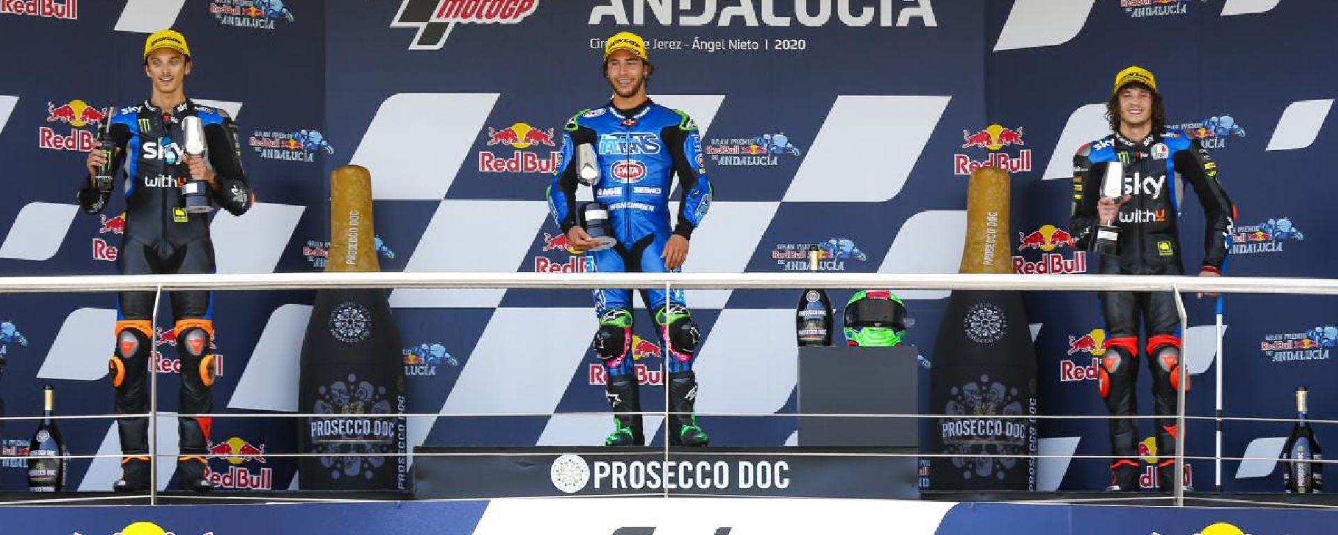 Il podio del GP Andalusia 2020 con Enea Bastianini davanti a Luca Marini e Marco Bezzecchi