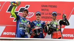 Il podio del GP d'Argentina con Rossi, Vinales e Crutchlow, Moto GP 2017