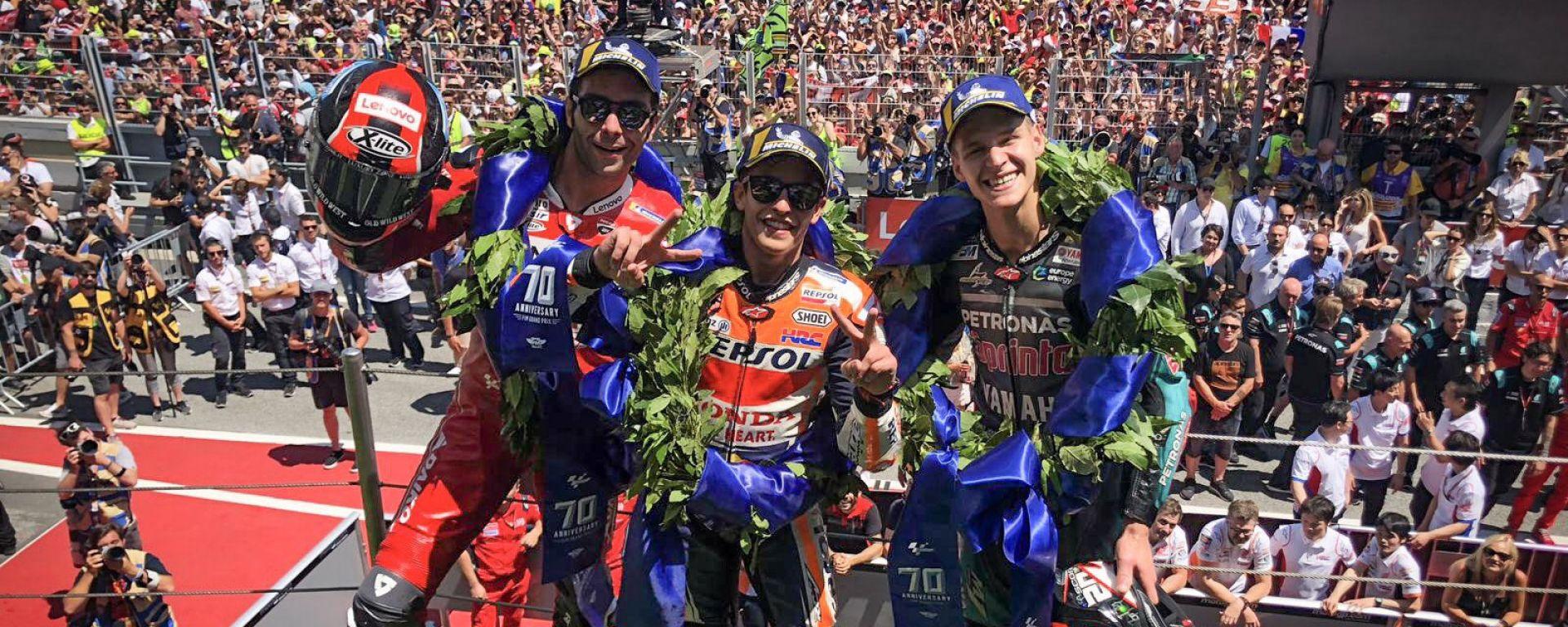 Il podio del GP di Catalunya 2019 con Petrucci, Quartararo e Marquez
