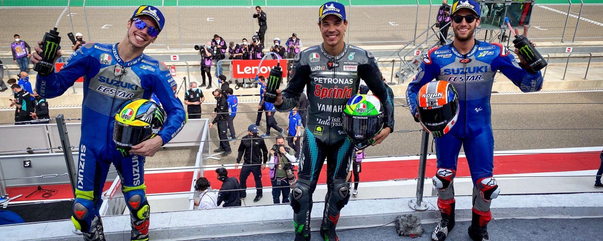 Il podio del GP di Teruel: Franco Morbidelli (Yamaha) davanti ai due Suzuki Alex Rins e Joan Mir