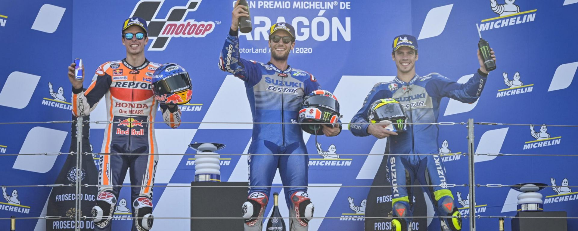 Il podio di Aragon 2020: Rins, Marquez e Mir