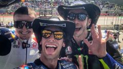 Il podio di Austin in versione selfie: da sinstra Miller, Rins e Rossi