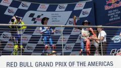 Il podio di Austin: Rins, Rossi e Miller
