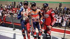 Il podio MotoGP di Aragon 2019: Marc Marquez (Honda), Andrea Dovizioso e Jack Miller (Ducati)