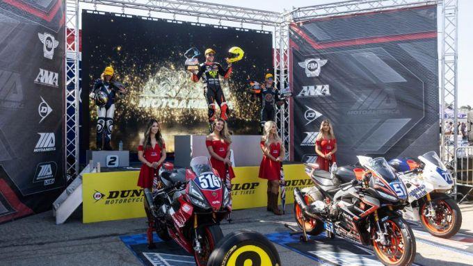 Il podio tutto Aprilia a Laguna Seca