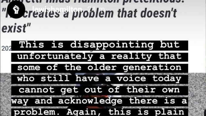 Il post di Hamilton su Instagram