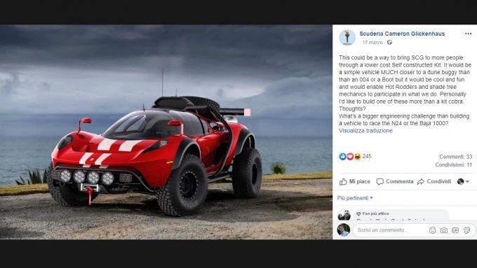 Il post su Facebook di Jim Glickenhaus