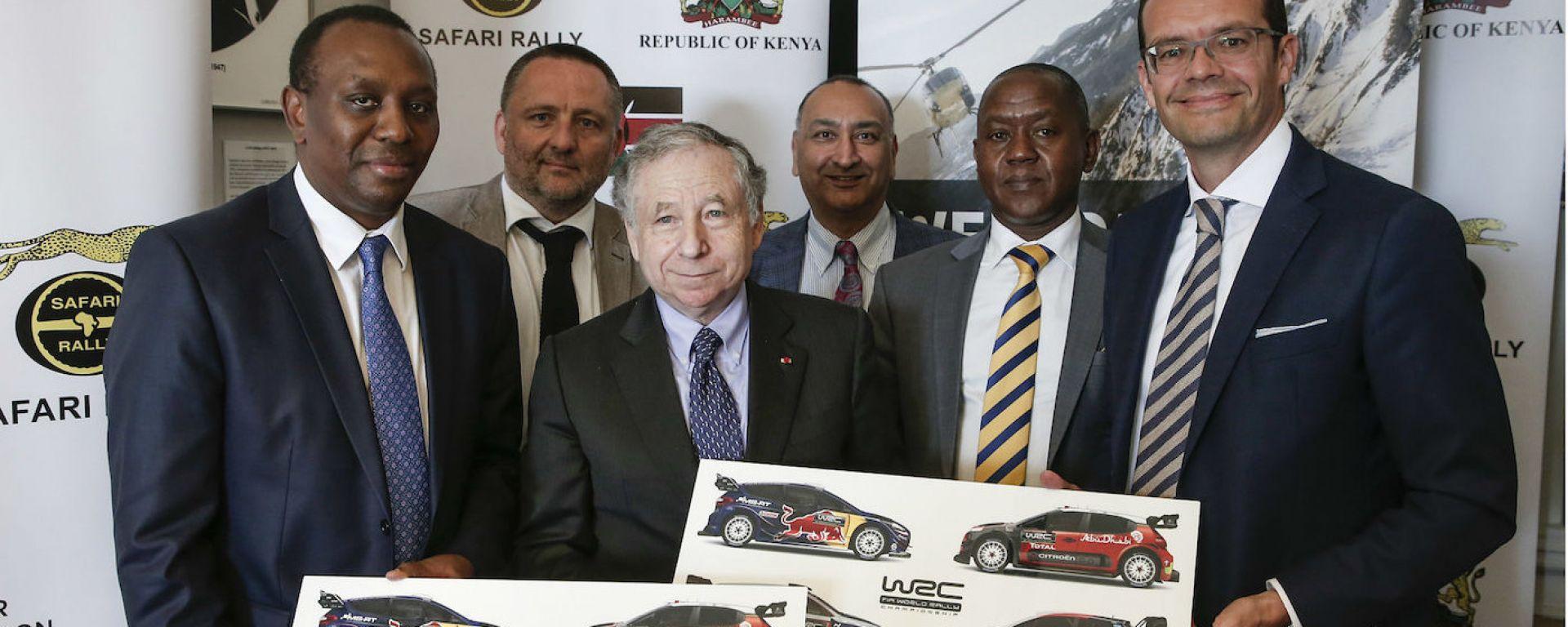 Il presidente della FIA Jean Todt con gli organizzatori del Rally Safari Kenya