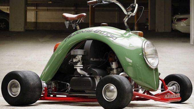 Il render del go-kart che si ispira al Maggiolino Volkswagen