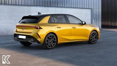 Il rendering di una nuova Lancia Delta su base Opel Astra, vista 3/4 posteriore