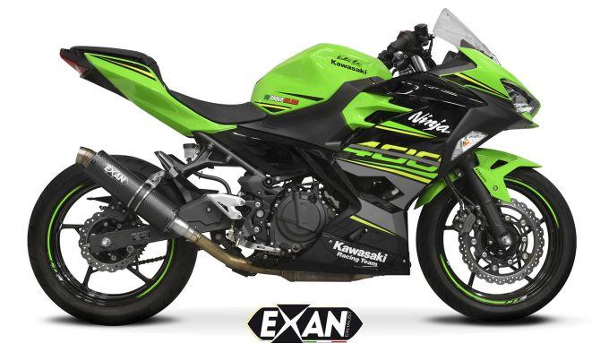 Il terminale di scarico Exan per Kawasaki Ninja 400