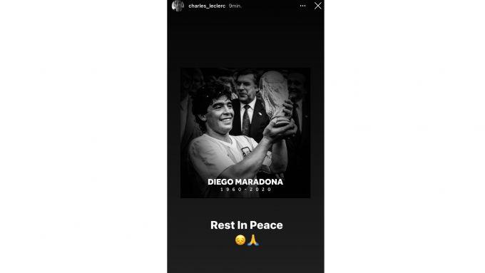 Il tributo a Maradona di Charles Leclerc
