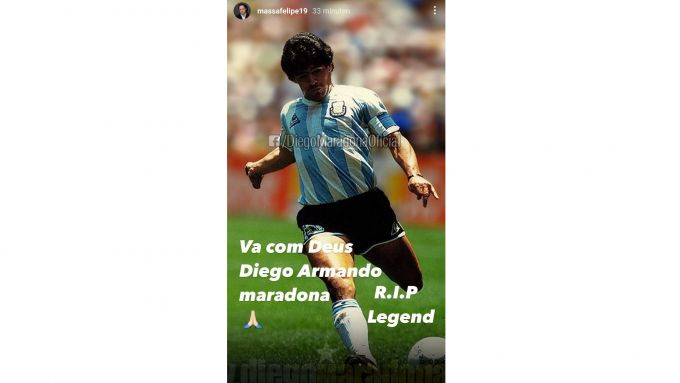 Il tributo a Maradona di Felipe Massa